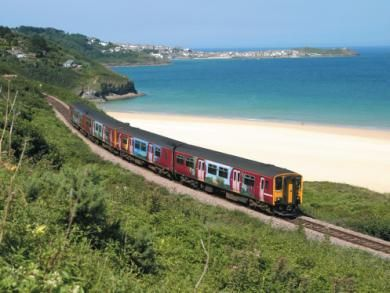 The train to St. Ives from St Erth, past Carbis Bay - the most beautiful journey.