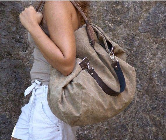 Shopping bag in Stonewashed  Italian canvas  by iyiamihandbags