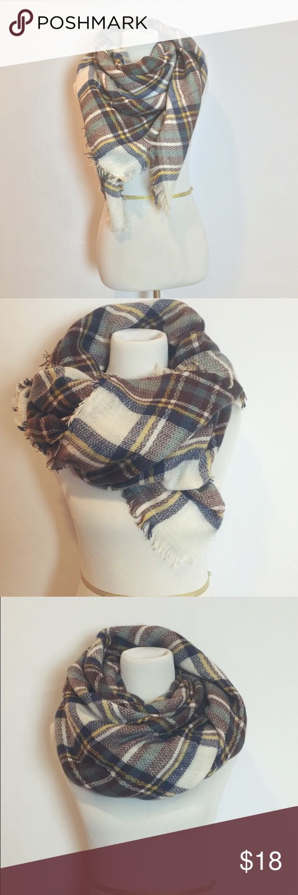 Plaid Oversized Tartan Blanket Scarf Beautiful oversized plaid blanket scarf. Made from high quality, medium weight, soft fabric. Cut wide & extra long to allow for even more layering & styling opportunities. This piece is finished with fringed edges for an added bohemian & vintage touch. Scarf is made out of an acrylic cotton blend. NWOT! Never worn. Accessories Scarves & Wraps