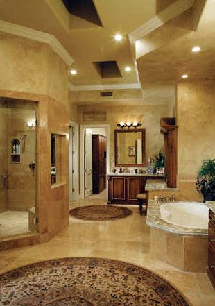 I LOVE this bathroom! I've always wanted a big jetted tub and a walk in shower with no door and no glass to clean.