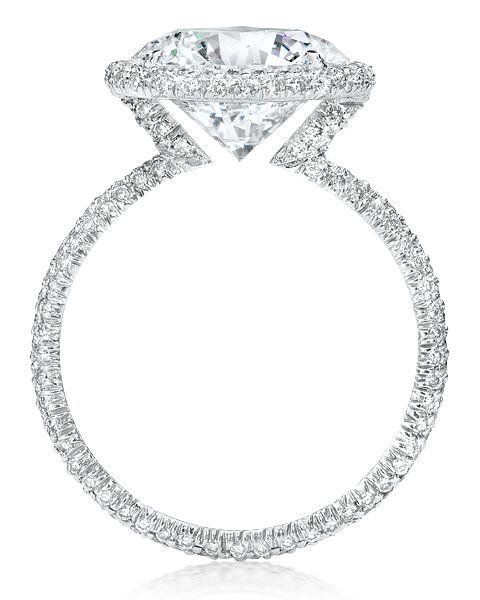 Cellini Jewelers round brilliant cut engagement ring in round wire  micropave V-basket setting. YES PLEASE!  86872125c