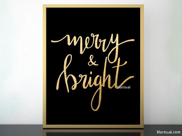Merry bright printable christmas decor in black and