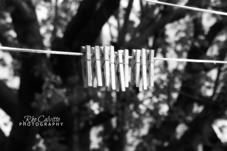 black & white, clothesline, clothes pegs, Rho Calvitto Photography