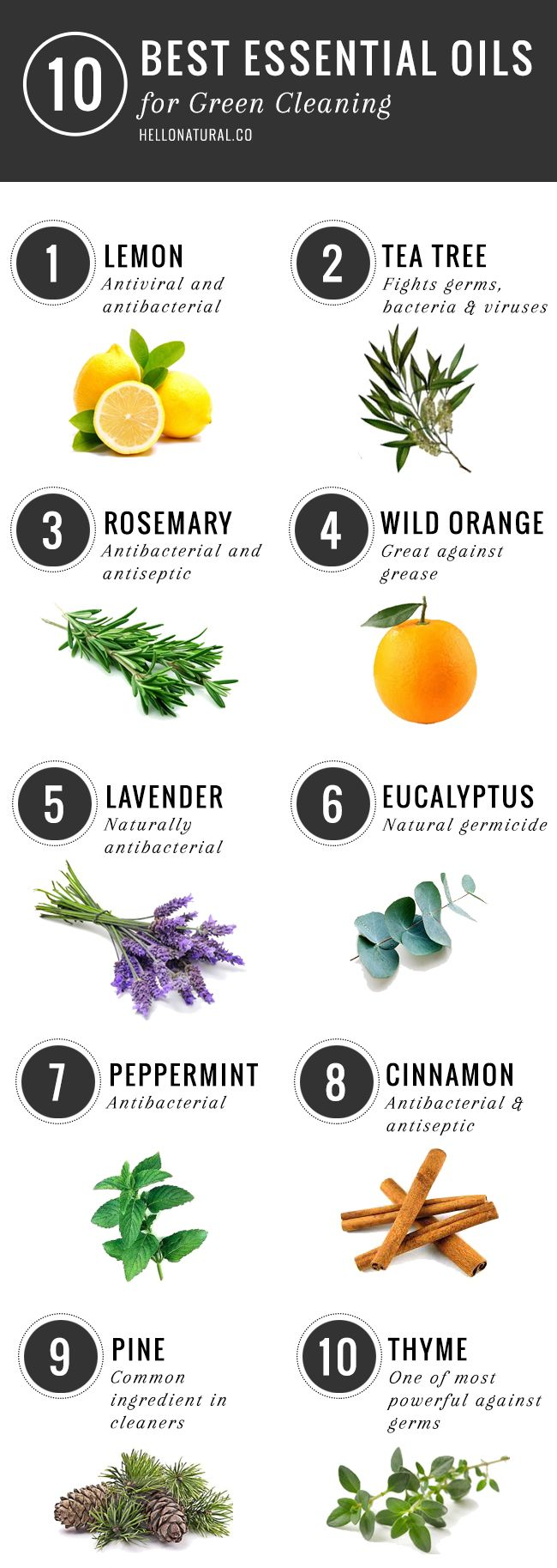 10 Best Essential Oils for Green Cleaning | http://helloglow.co/10-best-essential-oils-for-green-cleaning/