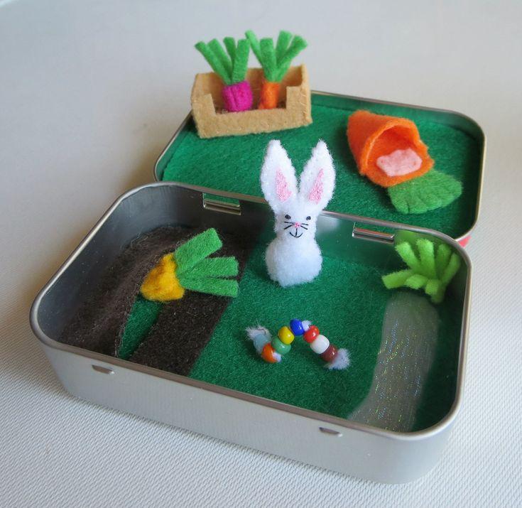 Bunny garden altoid tin miniature felt garden play set