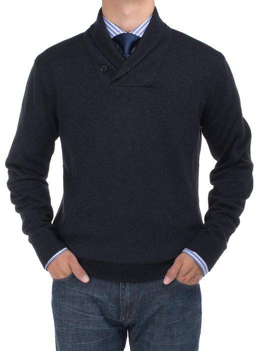 Bianco B Men's Cotton Shwal Collar Sweater Modern Fit (Small, Black)