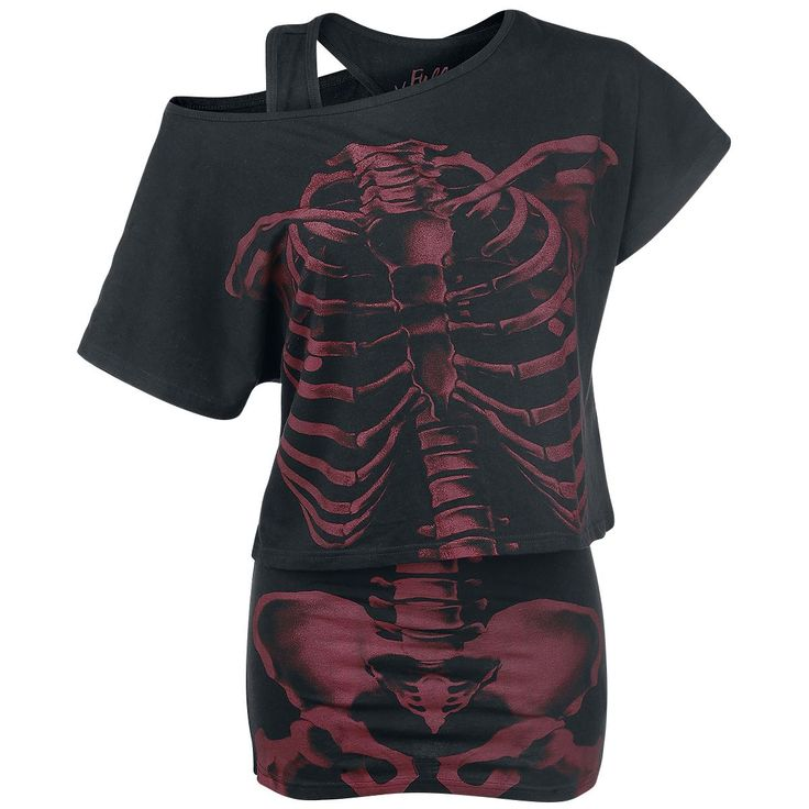 Full Volume by EMP  T-Shirt, Women  »Skeleton Shirt« | Buy now at EMP | More Basics  T-shirts  available online ✓ Unbeatable prices!