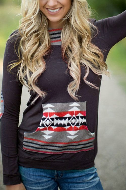 Stripe Geometrical Print Hoodies With Pocket Front - US$17.95 -YOINS