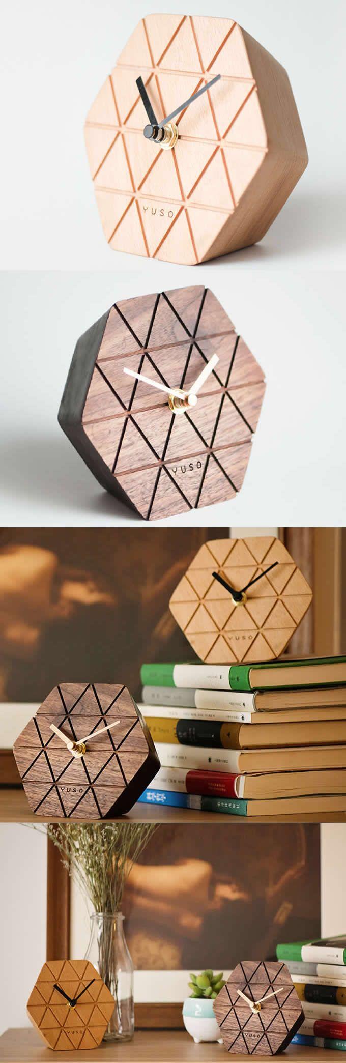 Handmade Beech Wood hexagonal Table Alarm Clock
