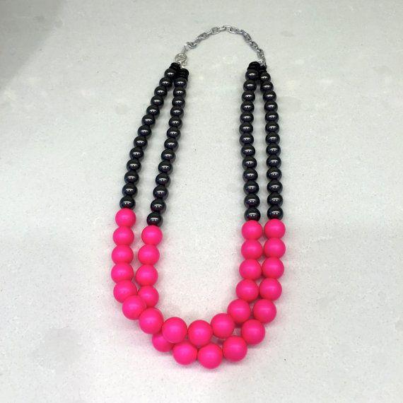 Neón rosa y negro collar de perlas joyería neón vidrio