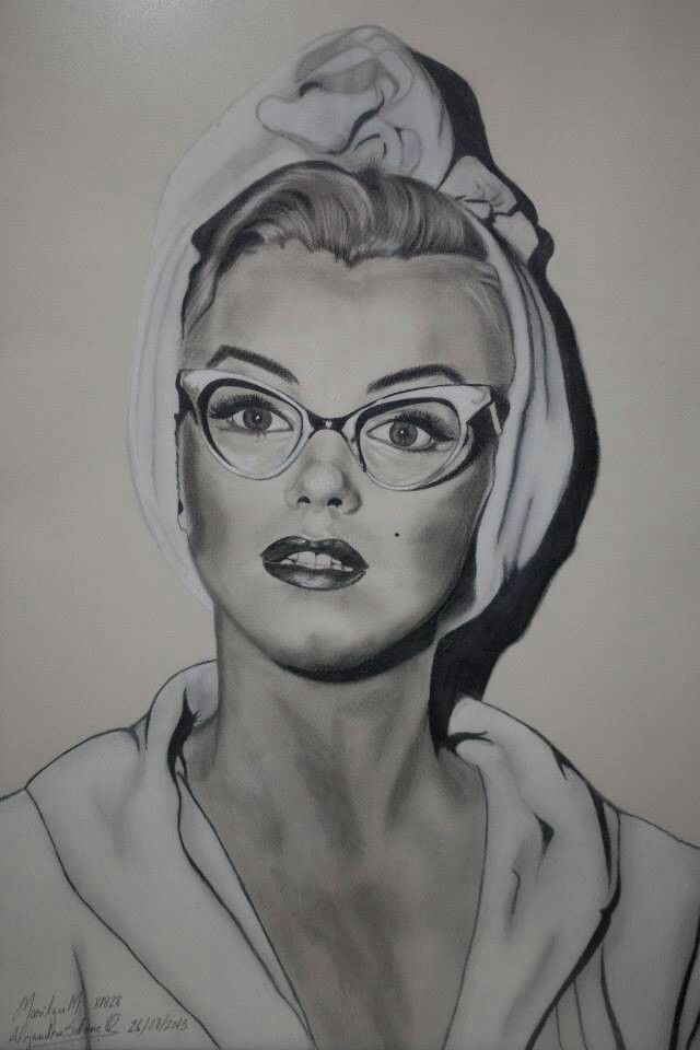 Marilyn en grafitos sobre fabriano