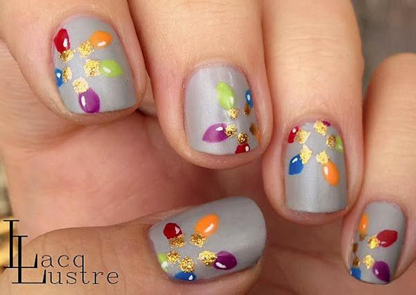 christmas nails | colorful baubles grey christmas nails - Favnails