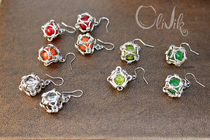 Сolored earrings. Master OliVik. Stainless steel jewelry by Viktor Petlyuk