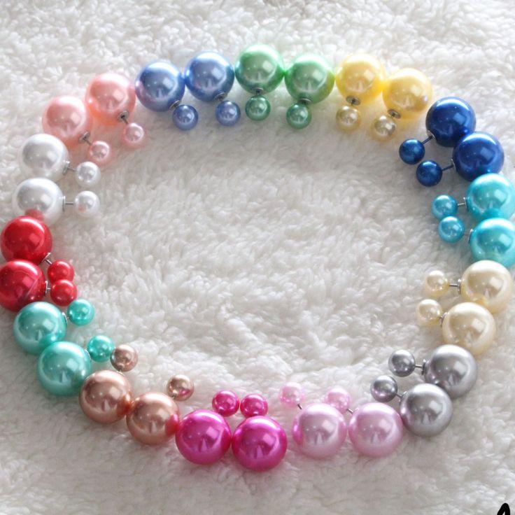 5 Paren/partij Groothandel Mode Parel Oorbellen Sieraden Voor Vrouwen Temperament Snoep Kleuren Bal Dubbelzijdige Oorbellen Voor Meisjes