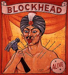 Fred Johnson Circus Sideshow Banner - Blockhead
