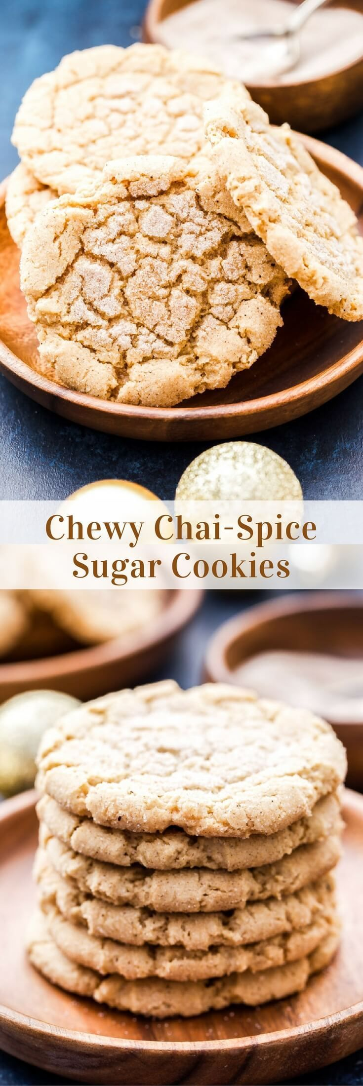 Chewy Chua Spice Sugar Cookies -- all dressed up for the holidays! -crisp edges, soft & chewy in the middle & plenty of chai-spice, perfection.