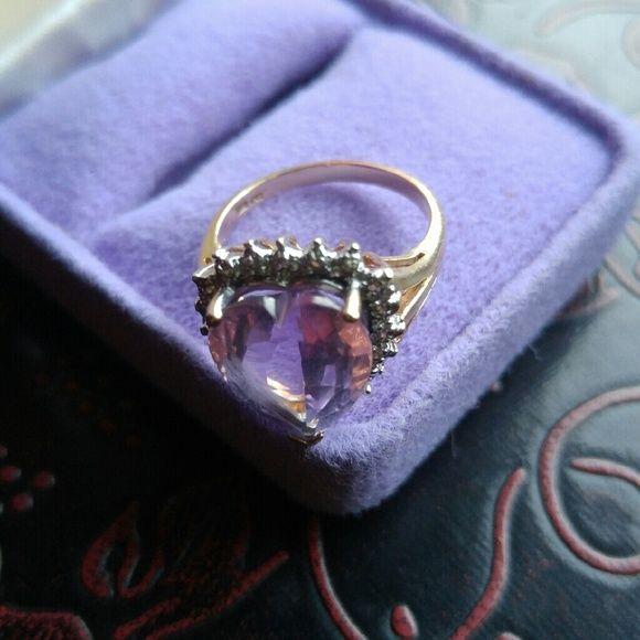 14-15-carat-Purple-heart-stone-+-Diamond-10-k-Gold-Ring