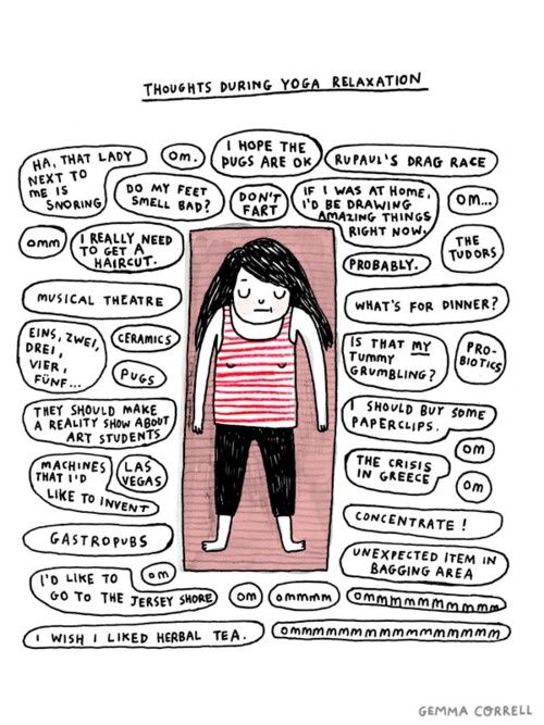 """""""Thoughts during #Yoga Relaxation."""" This is scarily accurate!"""