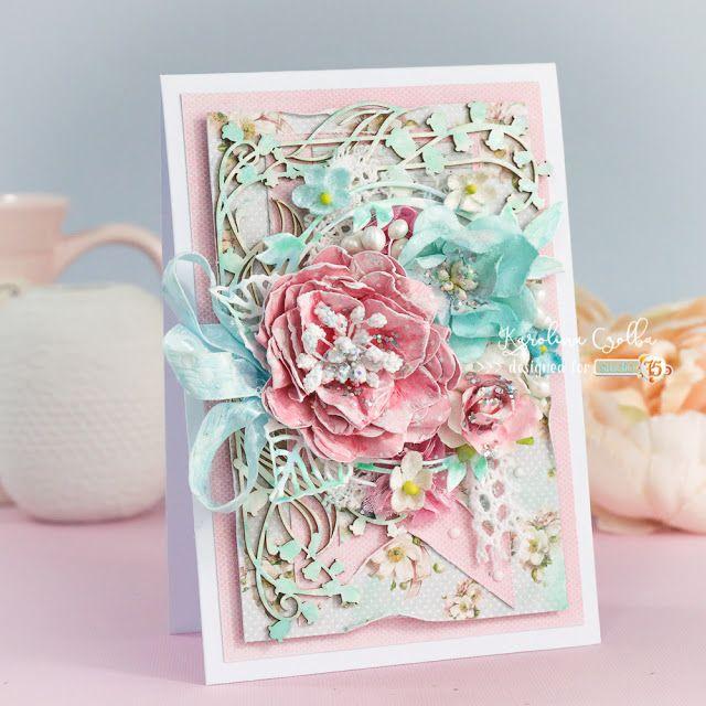 Kartka Shabby chic z ręcznie robionym kwiatem z papieru