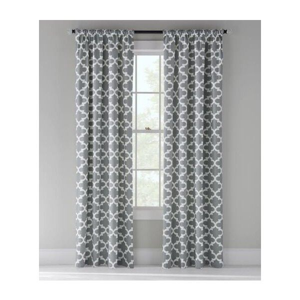 Prospect and Vine Easton Trellis Lined Rod Pocket Curtains Pair ($130) ❤ liked on Polyvore featuring home, home decor, window treatments, curtains, grey, lattice pattern curtains, grey patterned curtains, grey lattice curtains, gray trellis curtains and pole pocket curtains