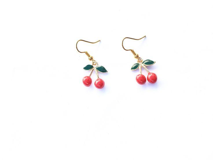 #handmade #cherries #gold #golplated #earrings #Rockabilly #geek #spring #cherry #cherryearrings #geekearrings #goldearrings @Etsy   A personal favourite from my Etsy shop https://www.etsy.com/uk/listing/602317619/handmade-cherry-earrings-gold-plated