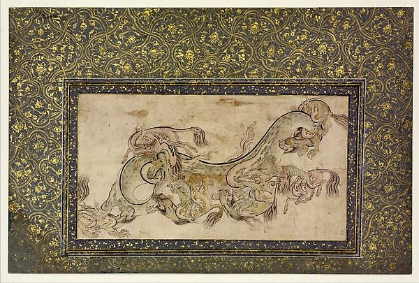 Chilins (Chinese Chimerical Creatures) Fighting with a Dragon | Object Name: Illustrated single work Date: 16th century Geography: Turkey, Istanbul