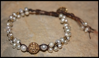 Pearl & Gold Crystal Stone Bracelet