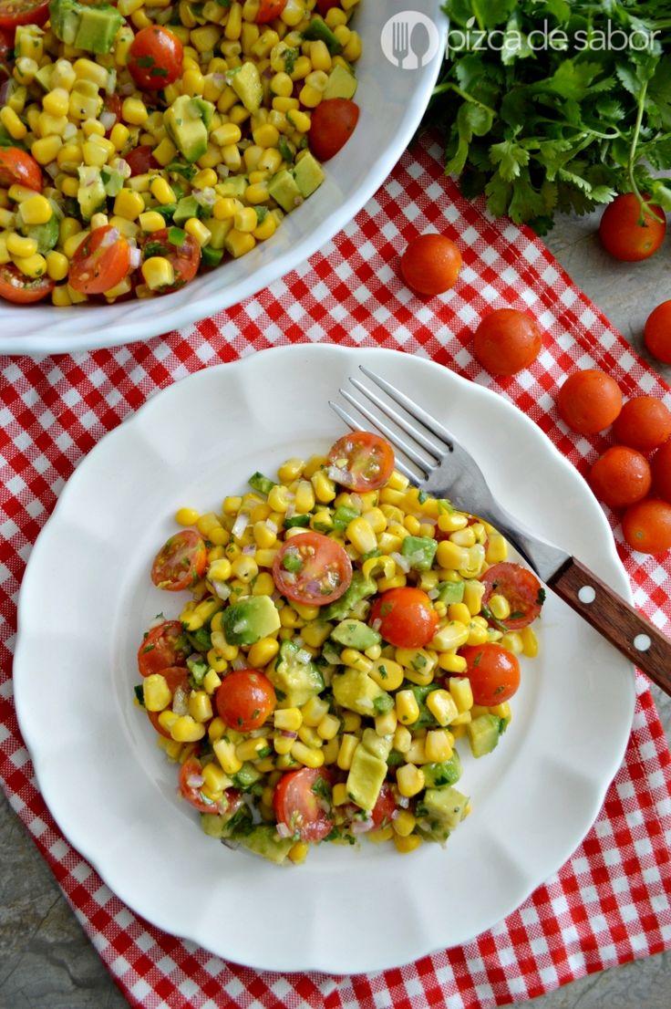 Ensalada de tomate – jitomate y elote o choclo www.pizcadesabor.com
