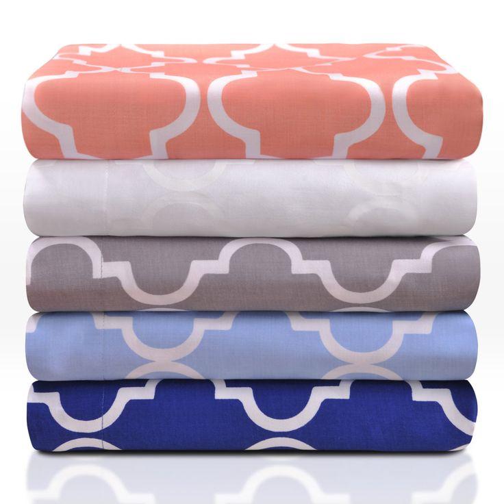 Superior 300 Thread Count 100% Cotton Trellis Pattern Duvet Cover Set - C300FQDC TRWH