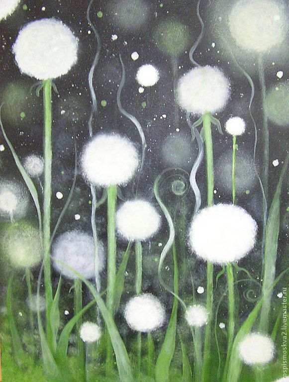 Купить Картина Ночные одуванчики ночь черный белый - ночь, черный, белый, одуванчики, цветы