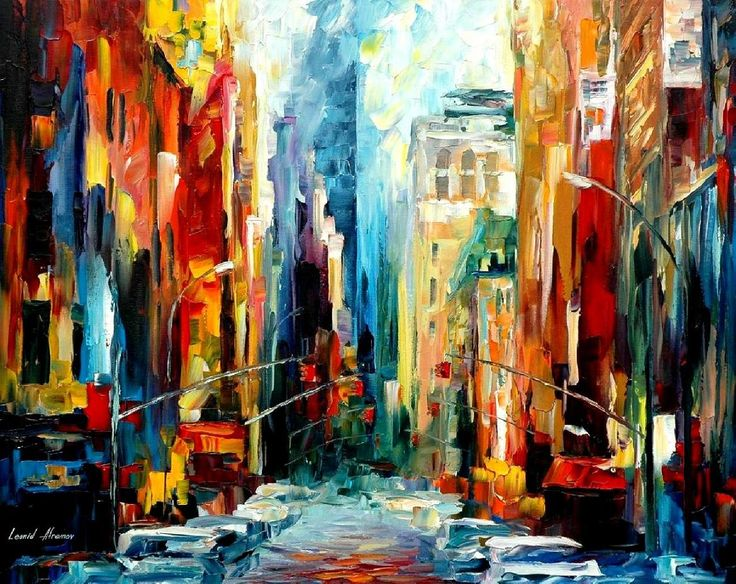 """""""New York - early morning"""" by Leonid Afremov ___________________________ Click on the image to buy this painting ___________________________ #art #painting #afremov #wallart #walldecor #fineart #beautiful #homedecor #design"""