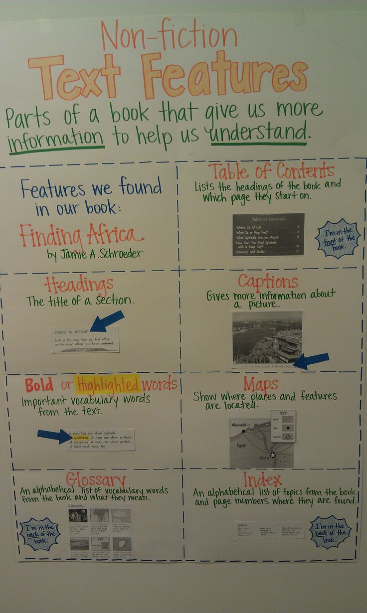 """Nonfiction Text Features - Anchor Chart - """"Finding Africa"""" by Jamie A. Schroeder"""