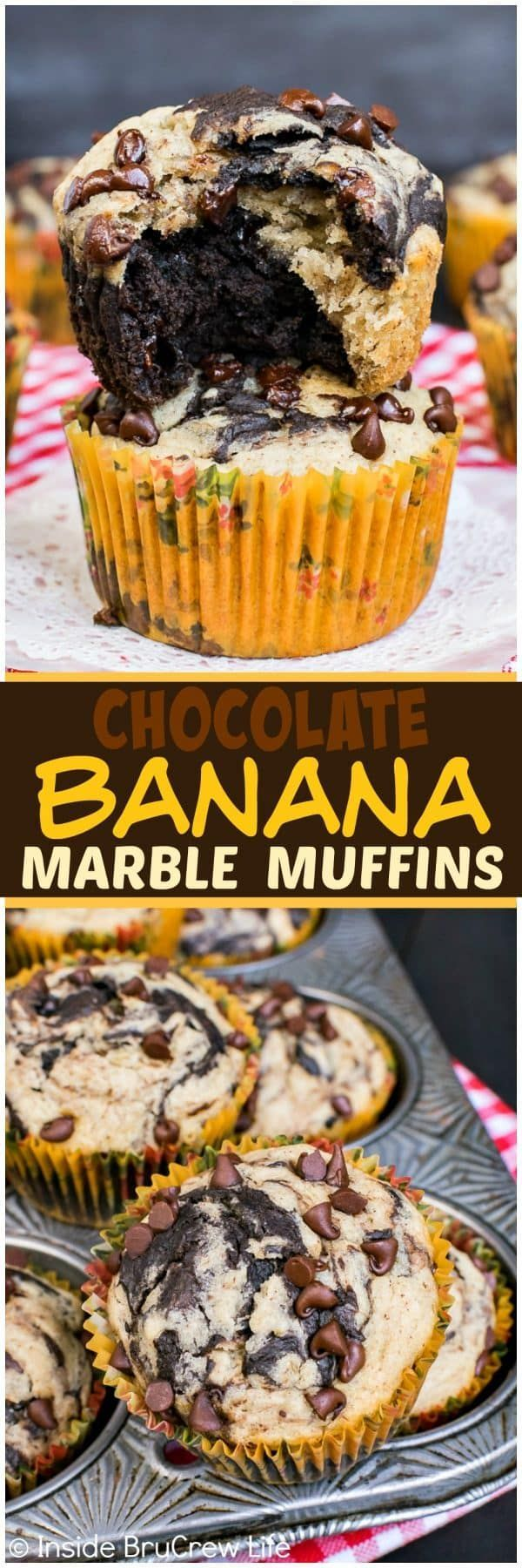 Chocolate Banana Marble Muffins - sweet swirls of chocolate and banana make these the best breakfast muffins!  Great healthy recipe for busy mornings!