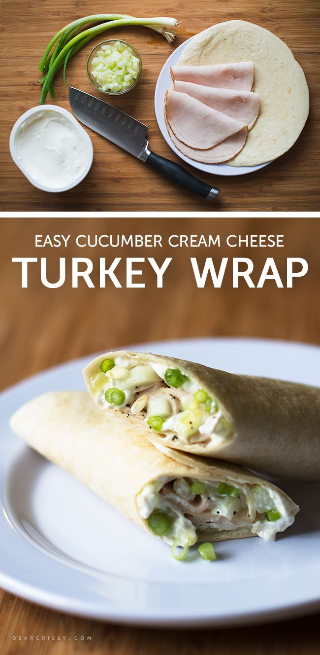 Cucumber Cream Cheese Turkey Wrap