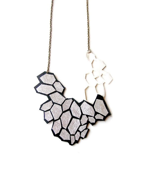 Geometric Necklace Leather Modern Silver Cells. $58.00 USD, via Etsy.