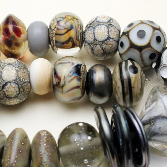 Lampwork Glass Beads Set SRA Matte Etched by StoneDesignsbySheila, $88.00