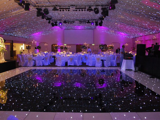 Wedding venue dressing with starlit dance floor and purple up lights  My dream wedding  Dance