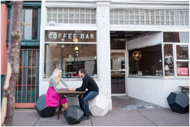 Brooke and Mitch's Downtown Albuquerque Engagment Photos by Maura Jane Photography. Coffee Shop Engagement Session
