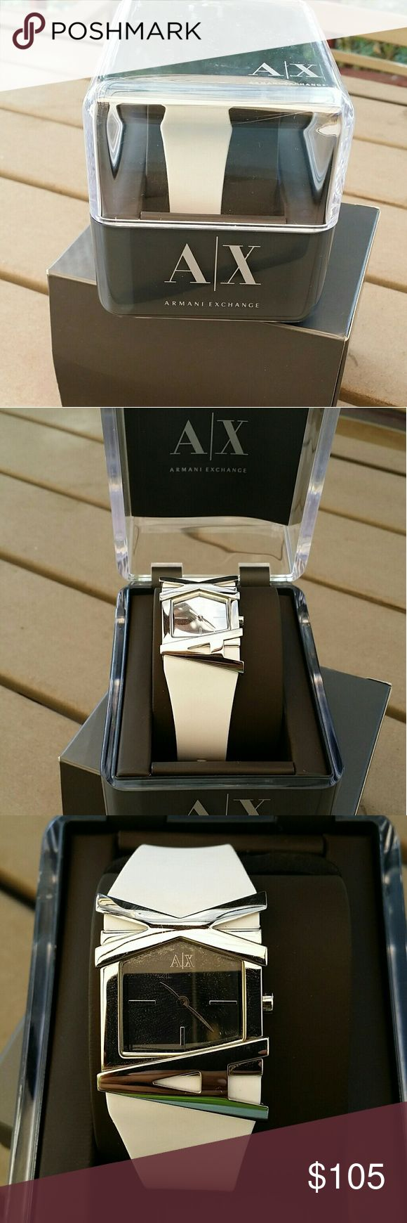 New AX watch White strap with silver detailing comes with original boxes Armani Exchange Accessories