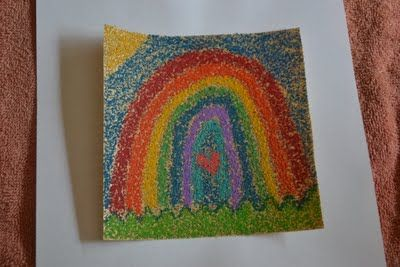Sandpaper Art--just color on sandpaper with crayons, heat with the iron, & see how the crayon melts onto the sand!  Looks like tiny grains of colored glitter!