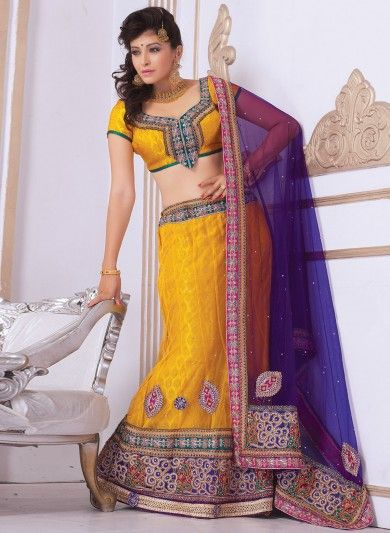 Orangish Yellow Net Lehenga Choli