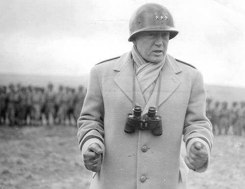 George Patton making a speech for US troops, Armagh, Northern Ireland, United Kingdom, spring 1944.