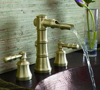 Moen's ShowHouse Bamboo Bathroom Collection  ... the open waterway spout design. This design alludes to the Sozu, a type of water fountain usually made from bamboo and found in Japanese gardens.