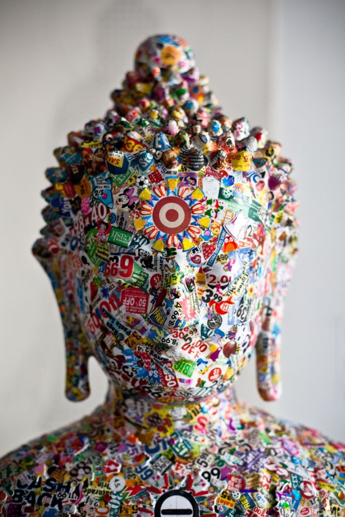 "Gonkar Gyatsos pop culture Buddha statue, photographed by Rainer Hosch  ""Gonkar Gyatso is a Tibetan artist who is based between NY and London. Being neighbors in Chelsea (the one in New York) I was lucky to be invited to his studio to document some of his process. Gonkar's work, which is represented in many galleries and museums, explores his fascination with material and pop culture and most of the times seems to incorporate the image of Buddha."