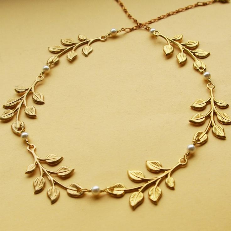Athena: Swarovski Pearl Gold Leaves Necklace, Vintage Bridal Bridesmaids Necklace, Woodland Bridesmaids Necklace, Gold Leaf. $48.00, via Etsy.
