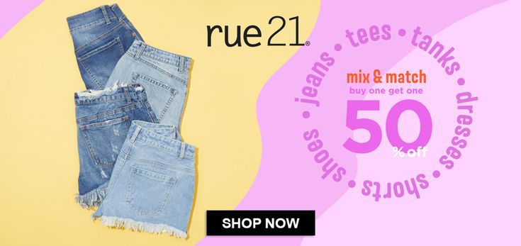 Online Only! Mix & Match! Buy One Get One 50% #Off Girl's Jeans, Tees, Shorts, Shoes & Dresses  Store: #Rue21 Scope: Entire Store Ends On : 04/08/2018  Get more deals: http://www.geoqpons.com/Rue21-coupon-codes  Get our Android mobile App: https://play.google.com/store/apps/details?id=com.mm.views  Get our iOS mobile App: https://itunes.apple.com/us/app/geoqpons-local-coupons-discounts/id397729759?mt=8