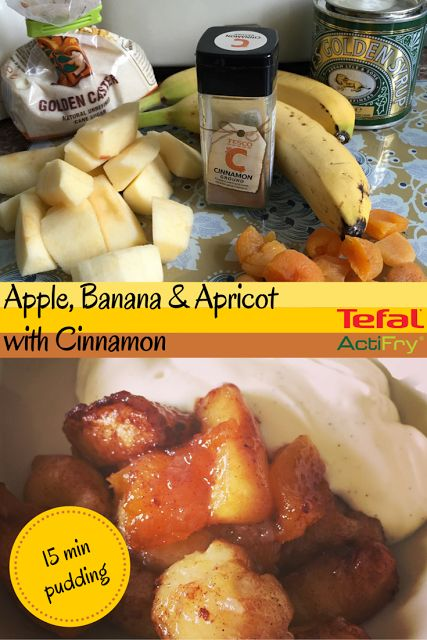 Apple, Banana and Apricots with Cinnamon cooked in a Tefal Actifry Express XL 1.5 L - speedy 15 minute pudding - perfect family pudding.