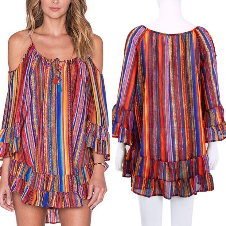 2016 Women'S Summer Casual Party Short Mini Dress Loose Long Tops T-Shirt Blouse