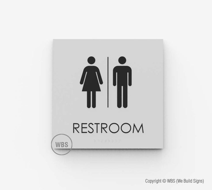 "ADA Restroom Signage - $39.99  8"" square with Braille, more at  https://www.webuildsigns.com/pages/restroom-signage"