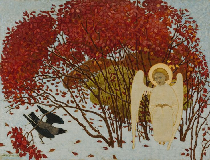 Свете светлый серия (Ангел и ворона) свет, святость, простев, рисунки простева, иконы александра простева, жития, иллюстрации, подпрки на венчание, семья православная, петр и феврония, православная любовь христианская семья прп сергий
